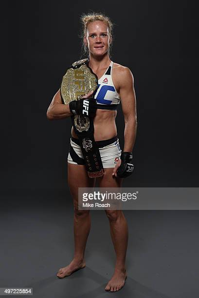UFC women's bantamweight champion Holly Holm poses backstage for a postfight portrait after the UFC 193 event at Etihad Stadium on November 15 2015...