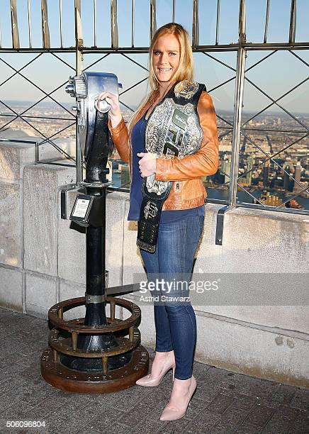 Women's Bantamweight Champion Holly Holm visits The Empire State Building at The Empire State Building on January 21 2016 in New York City