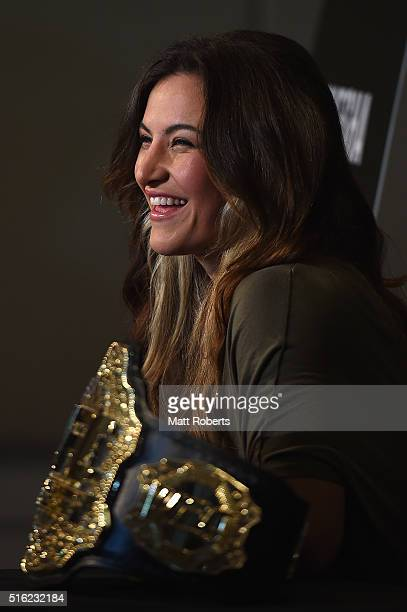 Women's bantamweight champion Miesha Tate speaks to media during the Ultimate Media Day on March 18, 2016 in Brisbane, Australia.