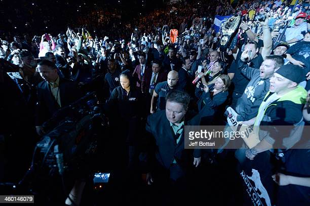 Women's Bantamweight Champion Ronda Rousey enters the arena prior to her bout against Miesha Tate during the UFC 168 event at the MGM Grand Garden...