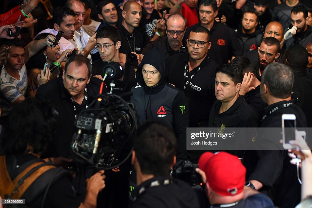 UFC women's bantamweight champion Ronda Rousey enters the arena prior to facing Bethe Correira in their UFC women's bantamweight championship bout during the UFC 190 event inside HSBC Arena on August 1, 2015 in Rio de Janeiro, Brazil.