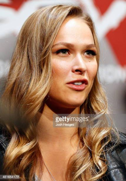 Women's bantamweight champion Ronda Rousey interacts with media during the UFC Ultimate Media Day at the Mandalay Bay Resort and Casino on July 3,...