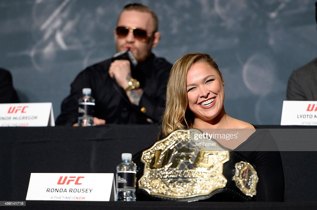 UFC women's bantamweight champion Ronda Rousey interacts with the crowd during the UFC Time Is Now press conference at The Smith Center for the Performing Arts on November 17, 2014 in Las Vegas, Nevada.