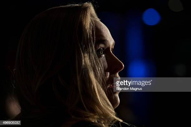 Women's bantamweight champion Ronda Rousey of the United States speaks to the media during the UFC 193 Ultimate Media Day festivities at Etihad...