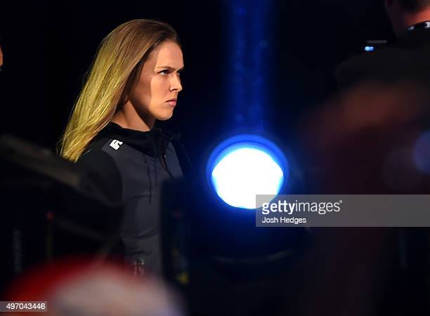 Women's bantamweight champion Ronda Rousey of the United States walks to the scale during the UFC 193 weigh-in at Etihad Stadium on November 14, 2015...
