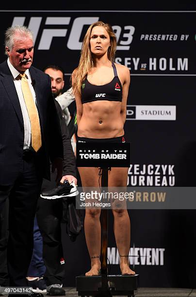 Women's bantamweight champion Ronda Rousey of the United States weighs in during the UFC 193 weigh-in at Etihad Stadium on November 14, 2015 in...