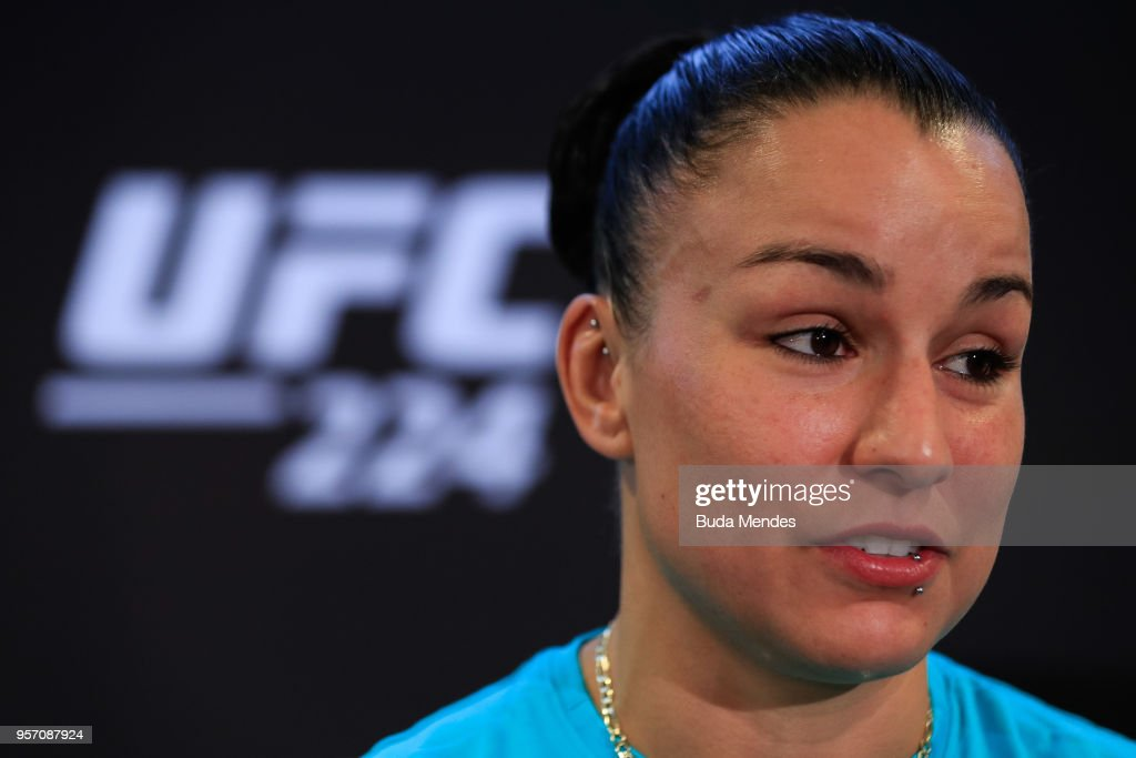 UFC women's bantamweight contender Raquel Pennington of the United States speaks to the media during Ultimate Media Day on May 10, 2018 in Rio de Janeiro, Brazil.