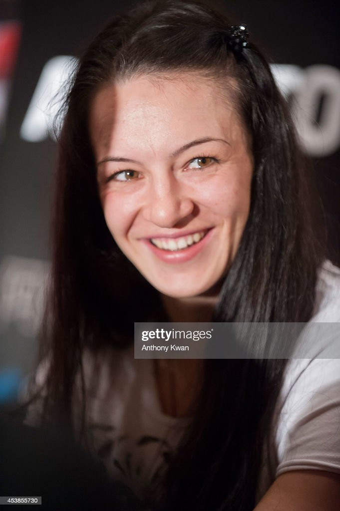 UFC women's bantamweight fighter Milana Dudieva at the Macao UFC Fight Night Press Conference at the Four Season Hotel on August 20, 2014 in Hong Kong.