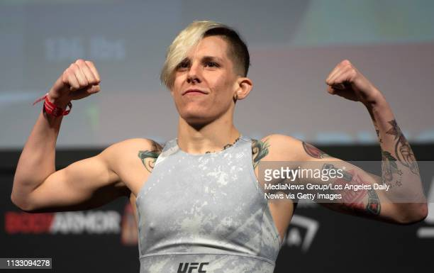 UFC women's bantamweight Macy Chiasson during the UFC 235 ceremonial weighins at the TMobile Arena in Las Vegas NV Friday Mar 1 2019