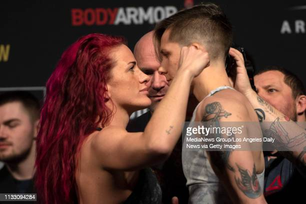 UFC women's bantamweights Gina Mazany left and Macy Chiasson faceoff during the UFC 235 ceremonial weighins at the TMobile Arena in Las Vegas NV...