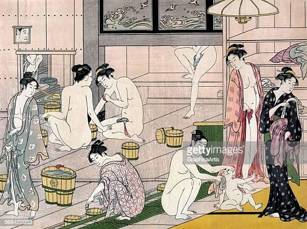 Women's Bathhouse in Edo by Torii Kiyonaga ukiyoe woodblock print 1780s