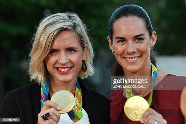 Women's beach volleyball gold medal winners at the Rio Olympic Games Laura Ludwig and Kira Walkenhorst arrive for the German daily newspaper Bild's...