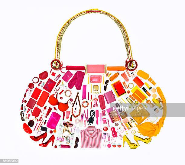 women's belongings in shape of handbag - accessoires stock-fotos und bilder