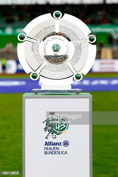 Women`s Bundesliga championship trophy during the Allianz Women's Bundesliga match between VfL Wolfsburg and SC Freiburg on August 30 2014 in...
