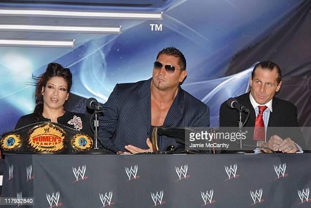 WWE Womens Champion Melina WWE World Heavyweight Champion Batista and Shawn Michaels