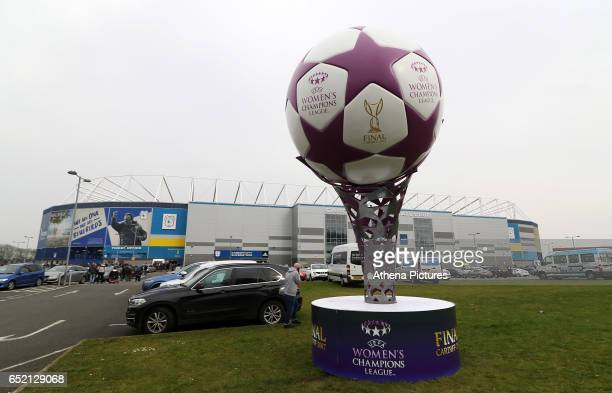 Womens Champions League football statue outside the Cardiff City Stadium in the countdown until the Final takes place prior to kick off of the Sky...