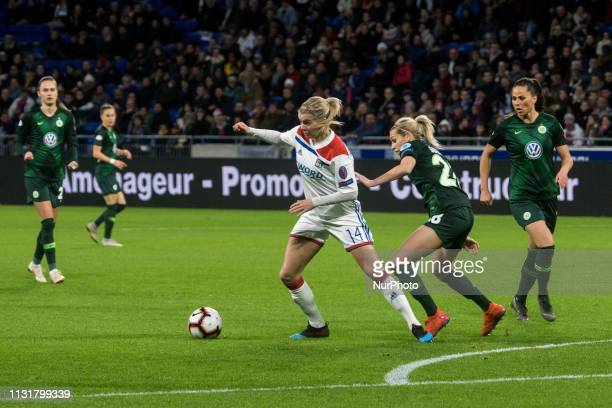 UEFA women's Champions League quarterfinal football match between Olympique Lyonnais and Vfl Wolfsburg at the Groupama Stadium in DecinesCharpieu...