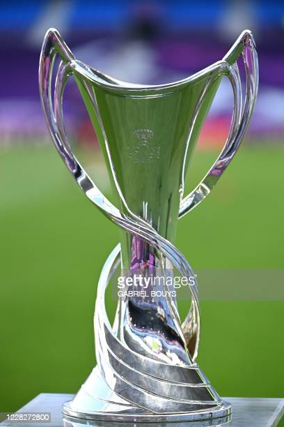 Women's Champions League's trophy is pictured before the UEFA Women's Champions League final football match between VfL Wolfsburg and Lyon at the...