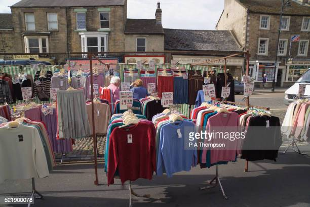 women's clothing for sale on street - barnard castle stock pictures, royalty-free photos & images