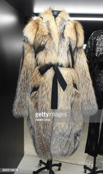A womens coat on display at the Sally LaPointe presentation during New York Fashion Week on February 14 2017 in New York City