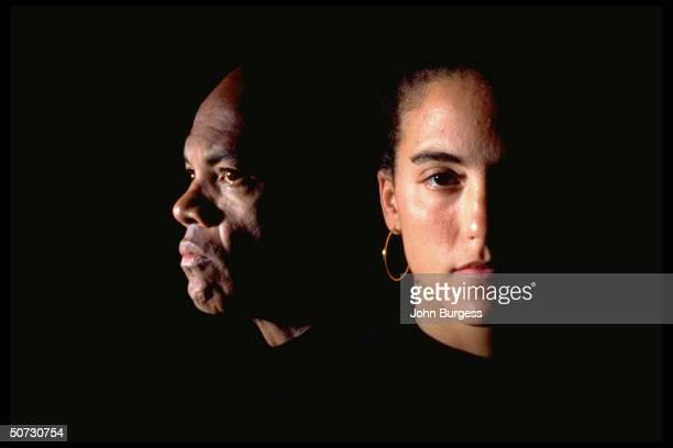 Women's Coll. Basketball: Feature. Closeup casual portrait of Stanford's Jamila Wideman w. Her father John Edgar Wideman.