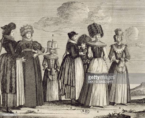 Women's costumes 1690 ca engraving Germany 17th century
