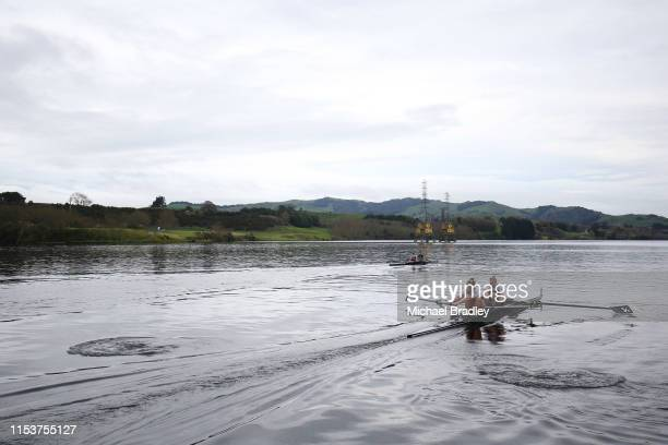 Womens coxless pair Grace Prendergast and Kerri Gowler during the New Zealand Rowing media day at Lake Karapiro on June 05 2019 in Cambridge New...