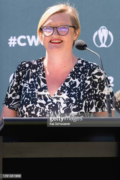 Women's Cricket World Cup CEO Andrea Nelson speaks during the ICC Women's Cricket World Cup 2022 match schedule announcement at Hagley Oval on...