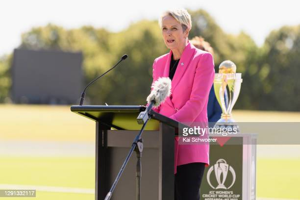 Women's Cricket World Cup Chair Liz Dawson speaks during the ICC Women's Cricket World Cup 2022 match schedule announcement at Hagley Oval on...