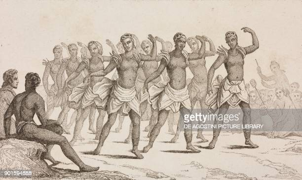 Women's dance Hawaii Islands engraving by Danvin and Mariage from Oceanie ou Cinquieme partie du Monde Revue Geographique et Ethnographique de la...