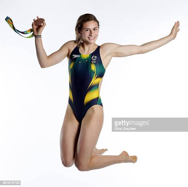 Women's Diving Synchronised 3m Springboard Bronze medalist Maddison Keeney of Australia poses during a portrait session on August 18 2016 in Rio de...