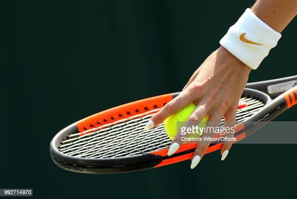 Womens Doubles Mandy Minella Anastasija Sevastova v Georgina Garcia Perez Fanny Stollar The long white nails of Fanny Stollar against her racquet as...