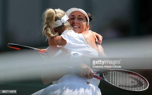 Womens Doubles Mandy Minella Anastasija Sevastova v Georgina Garcia Perez Fanny Stollar Fanny Stollar and Georgina Garcia Perez hug as they celebrate...