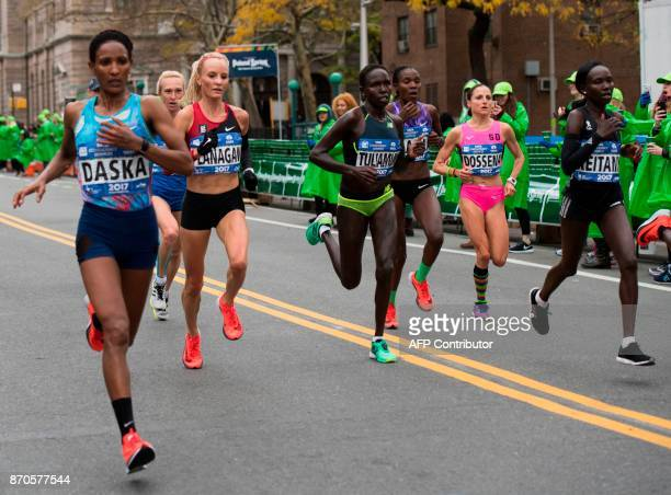 Women's elite runners including winner Shalane Flanagan compete during the 2017 TCS New York City Marathon in New York on November 5 2017 Five days...