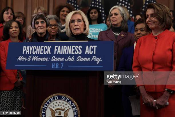 Women's equality activist Lilly Ledbetter speaks as US Speaker of the House Rep Nancy Pelosi and other Democratic Congressional members listen during...