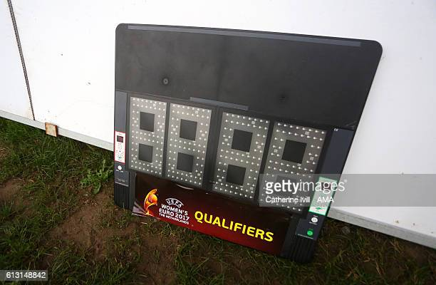 Women's Euro 2017 branded substitutes board during the Women's Euro 2017 qualifier match between Wales Women and Austria Women at Rodney Parade on...