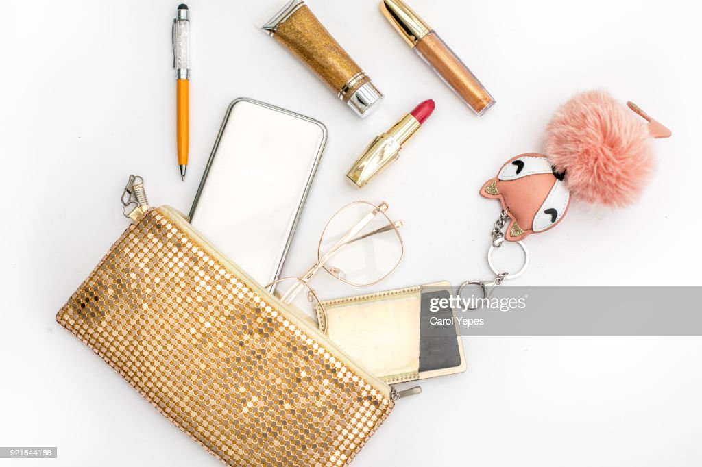 Women's fashion. black handbag, makeup brushes on white background. Flat composition. magazines, social media. Top view. Flat lay. : Stock Photo
