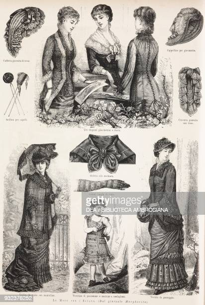 Women's fashion for summer 1881 bonnets hats jackets gloves and clothing engraving from L'Illustrazione Italiana No 23 June 5 1881