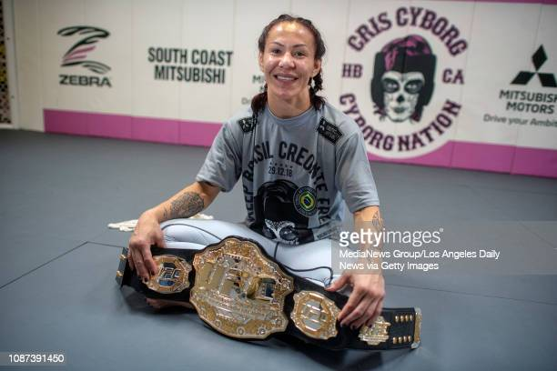 UFC women's featherweight champion Cris Cyborg at her gym in Huntington Beach Wednesday Dec 12 2018