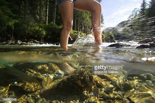Women's feet in water