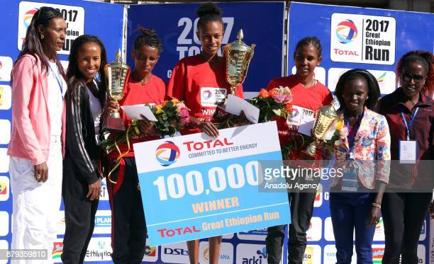 Women's first place winner Zeyneba Yemer second place winner Maryamawit G/Egeziabeher and third place winner Sufan Tesfaye in the Great Ethiopian Run...