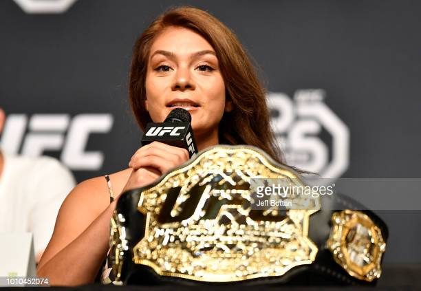 UFC women's flyweight champion Nico Montano interacts with the media during the UFC press conference inside the Orpheum Theater on August 3 2018 in...