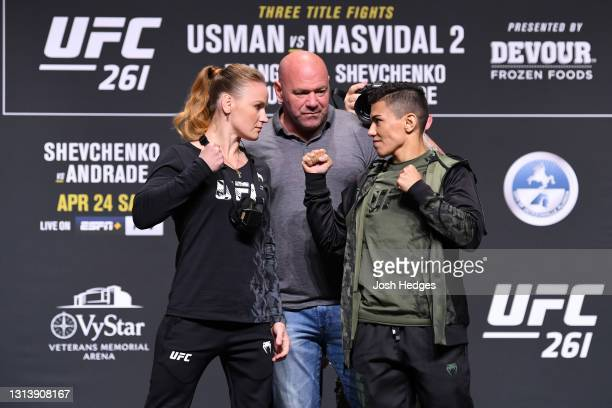 Women's Flyweight Champion Valentina Shevchenko and Jessica Andrade of Brazil face off during the UFC 261 press conference at VyStar Veterans...