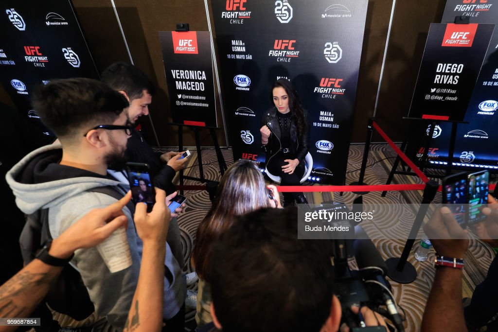 UFC women's flyweight contender Veronica Macedo of Venezuela attends the media during Ultimate Media Day on May 17, 2018 in Santiago, Chile.