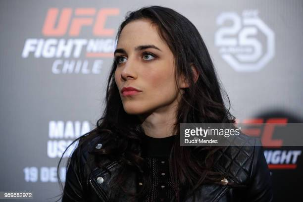 UFC women's flyweight contender Veronica Macedo of Venezuela speaks to the media during Ultimate Media Day on May 17 2018 in Santiago Chile