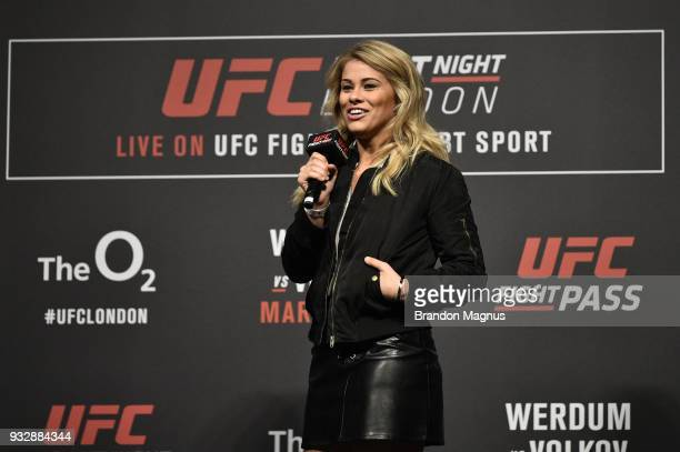 UFC women's flyweight Paige Vanzant interacts with fans during a QA session after the UFC Fight Night weighin inside The O2 Arena on March 16 2018 in...