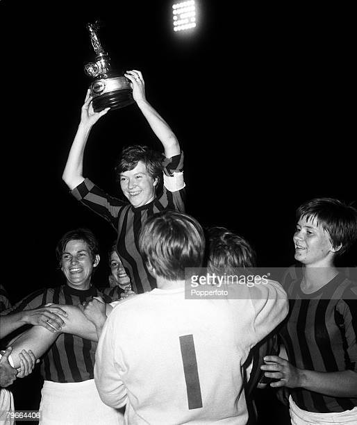 Women+s Football, Turin, Italy, 15th July 1970, World Cup Final, The victorious Denmark team celebrate with the trophy after defeating Italy in the...