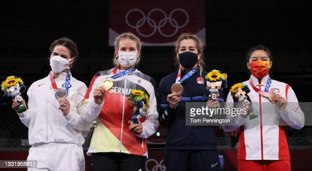 Women's Freestyle 76kg medalists Adeline Maria Gray of Team United States , Aline Rotter Focken of Team Germany , Yasemin Adar of Team Turkey and...