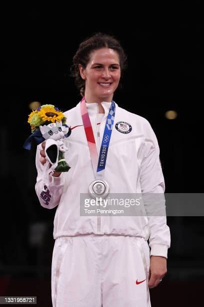 Women's Freestyle 76kg silver medalist Adeline Maria Gray of Team United States smiles during the Victory Ceremony on day ten of the Tokyo 2020...