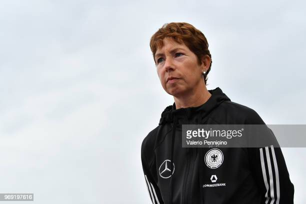 Women's Germany head coach Maren Meinert looks on during the Four Nations Tournament match between U20 Women's France and U20 Women's Germany at...